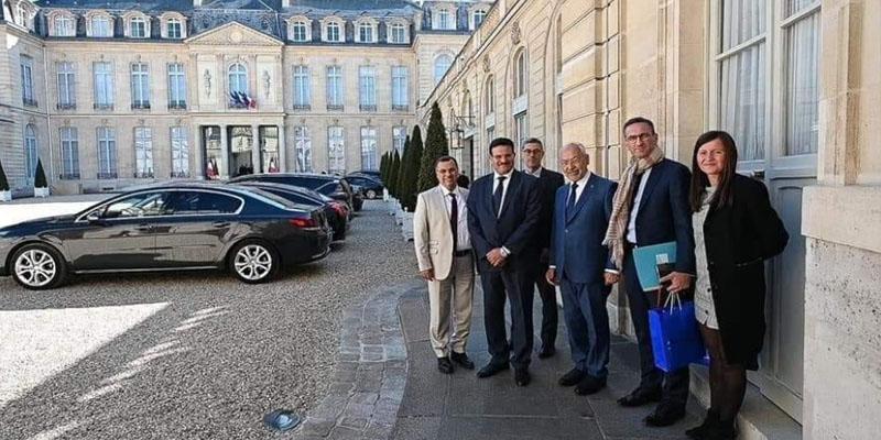 صورة الغنوشي وقيادات من النهضة أمام وزارة الخارجية الفرنسية تثير الجدل