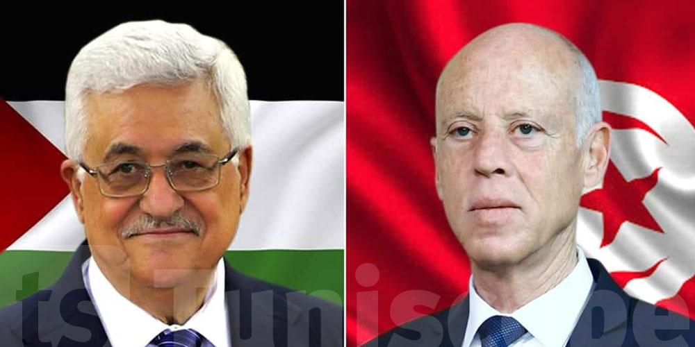 قيس سعيد يُهاتف رئيس دولة فلسطين