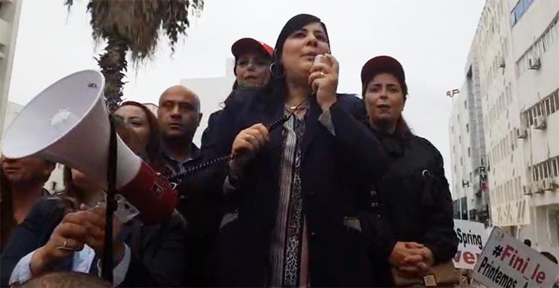 بالفيديو: عبير موسي من أمام مقر هيئة الحقيقة والكرامة ''نحن الأزلام..ديقاج''
