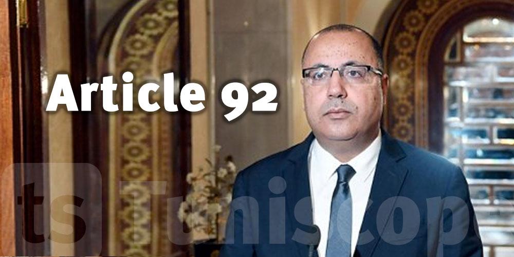 Le gouvernement Mechichi serait incompatible avec l'article 92 de la constitution