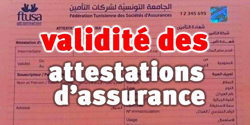 Prolongation de la durée de validité des attestations d'assurance