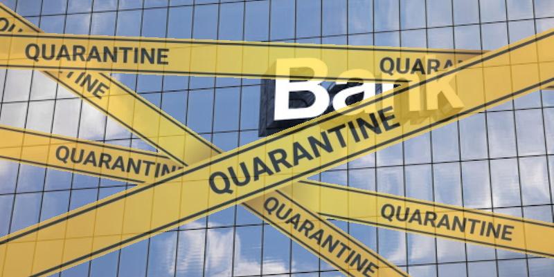 Fermeture d'une agence bancaire à cause du coronavirus à Bizerte