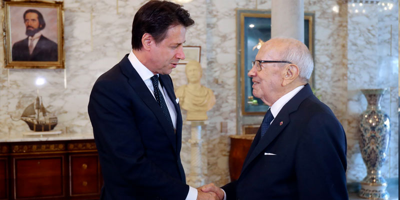 En photos : Béji Caïd Essebsi reçoit Giuseppe Conte