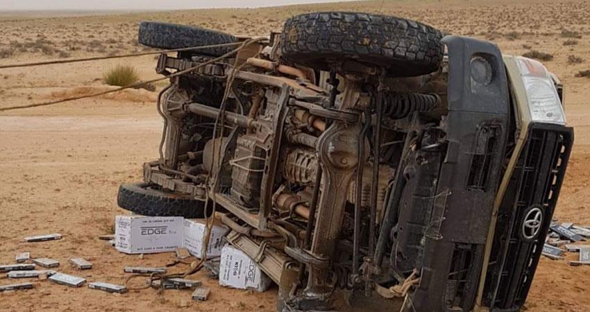 المنطقة العسكرية العازلة :وفاة مهرب في حادث مرور قرب الساتر الترابي