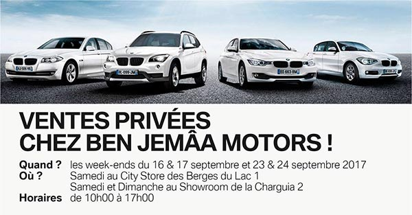 Les ventes privées BMW c'est aujourd'hui au Lac et à la Charguia