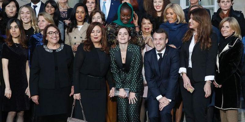 Bochra, Wided et Emma avec Macron pour l'égalité entre les femmes et les hommes
