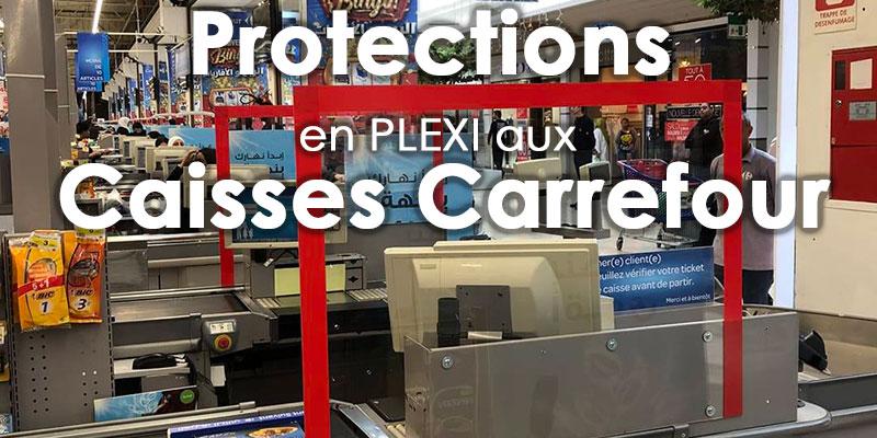 Carrefour installe des protections en plexiglas aux caisses