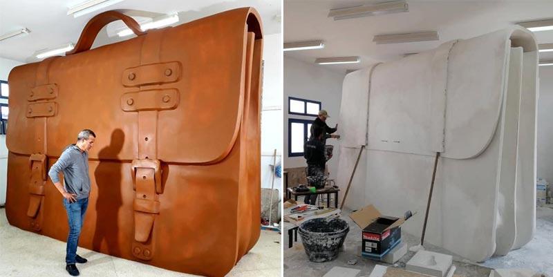 قابس: فنّان تشكيلي ينجز مجسّم محفظة عملاقة تكريما للمربين