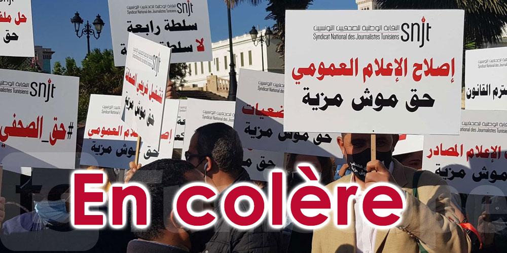 En photos : En colère, les journalistes protestent à la Kasbah