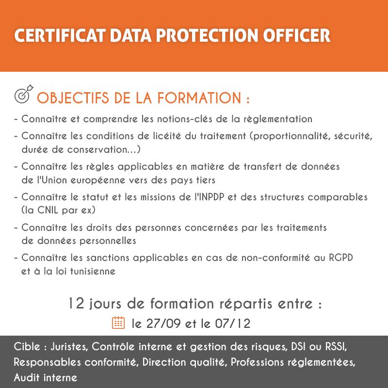 L'UNIVERSITE DAUPHINE I TUNIS  ÉTOFFE SON OFFRE DE FORMATION AVEC  UN CERTIFICAT DATA PROTECTION OFFICER