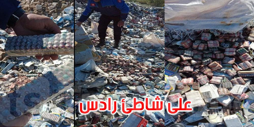 العثور على كمية من البطاريات منتهية الصلوحية بشاطئ رادس