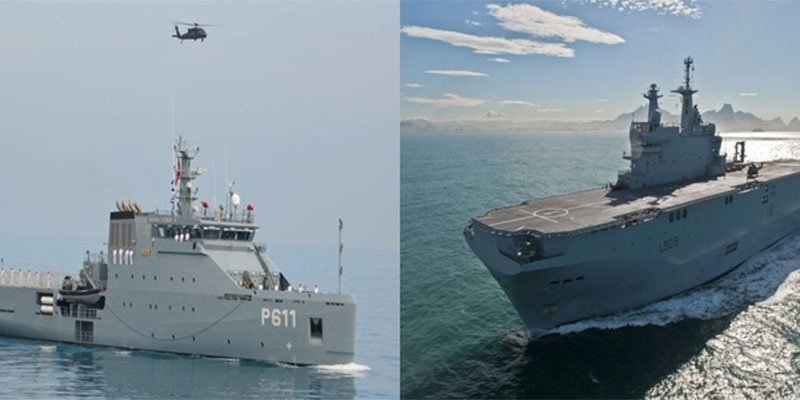 تمرين بحري مشترك بين خافرة أعالي البحار التونسية و الباخرة حاملة المروحيات الفرنسية