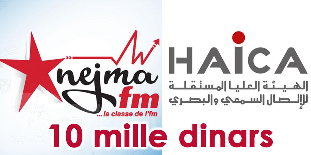 La HAICA inflige une amende de 10 mille dinars à Nejma FM