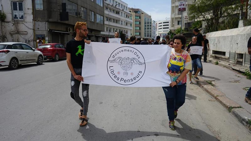 صور من الوقفة الإحتجاجية ''موش بالسيف'' للمطالبة بالحق في الإفطار في رمضان
