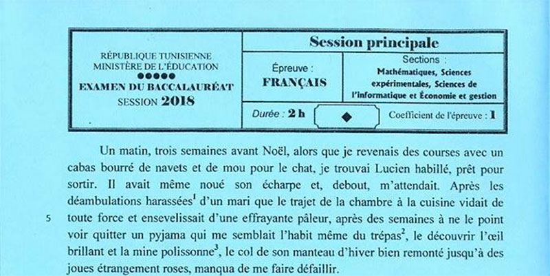 En photos : Le sujet de l'épreuve de français des sections mathématiques, sciences expérimentales, Informatique et Economie & Gestion