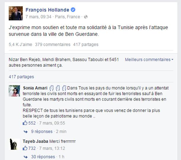 Quand les Tunisiens envahissent la page de François Hollande
