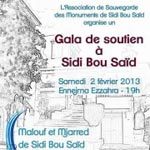 Gala de soutien à Sidi Bou Saïd, samedi 2 février 2013 à 19h à Ennejma Ezzahra