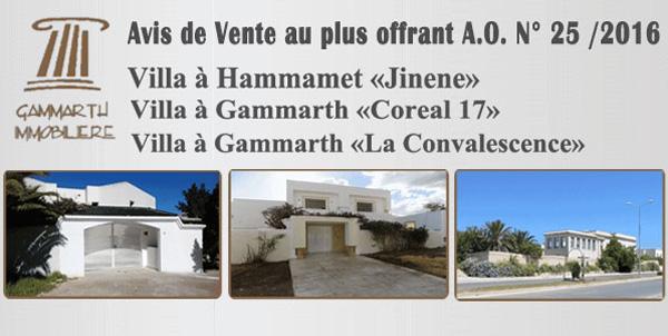 Avis de Vente de 3 villas à Gammarth et à Hammamet