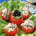 Tomates farcis aux riz et aux champignons