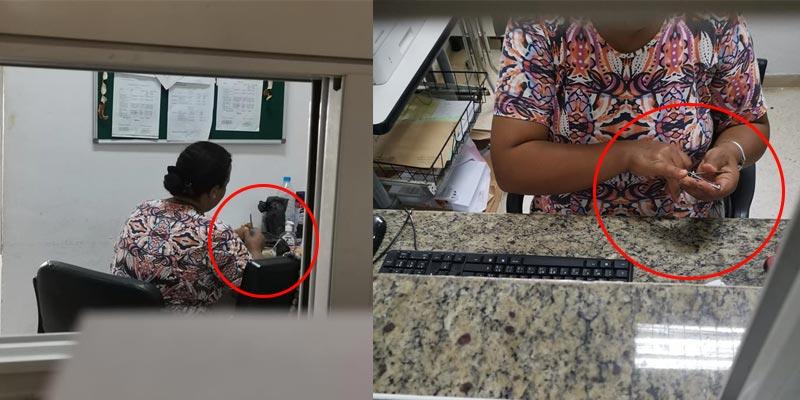 بالصور: تقليم اظافر وإعداد الفطور أثناء أداء المهام في مستشفى عمومي