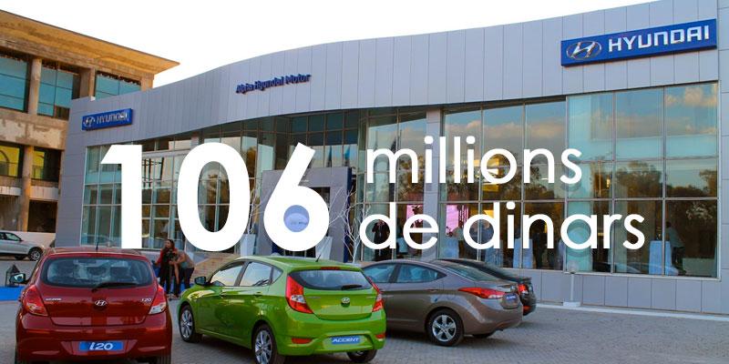 Alpha Hyundai vendue pour 106 millions de dinars