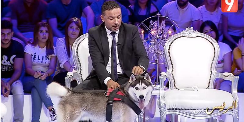 Photos : Seifeddine Makhlouf emmène son chien à une émission TV