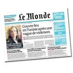 Le monde met le couvre feu de la Tunisie à la Une