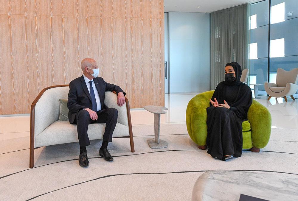 صور، قيس سعيد يلتقي الشيخة موزا بنت ناصر