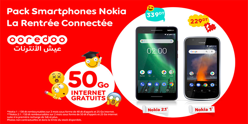 Ooredoo lance les packs « Rentrée» Nokia 1 et Nokia 2.1