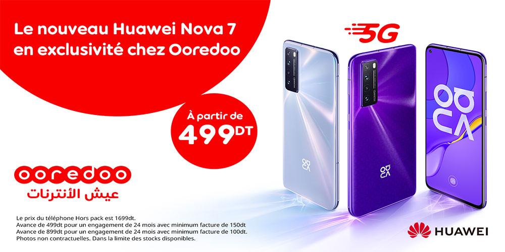 Ooredoo vous propose le Huawei Nova 7, 5G en exclusivité et à partir de 499 dt