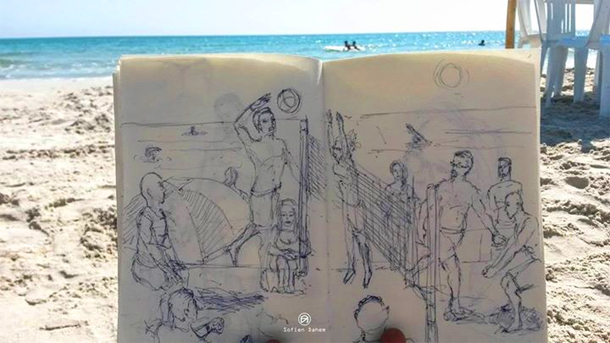 En Photos : Il repeuple la plage avec ses dessins