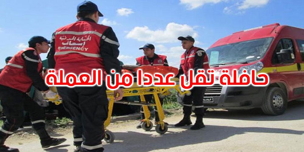 الحمامات: اصطدام حافلة وسيارة سياحية يسفر عن وفاة شخص وإصابة 12 عاملة