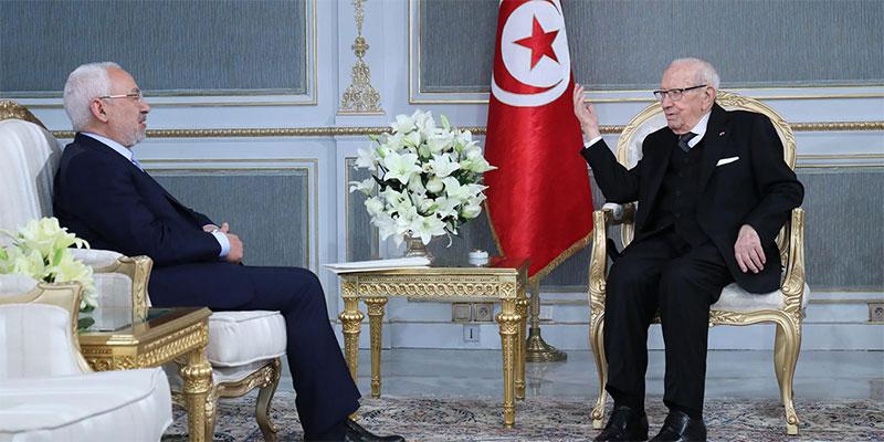راشد الغنوشي في قصر قرطاج ليستنكر الخطابات المتشنّجة بمجلس نواب الشعب