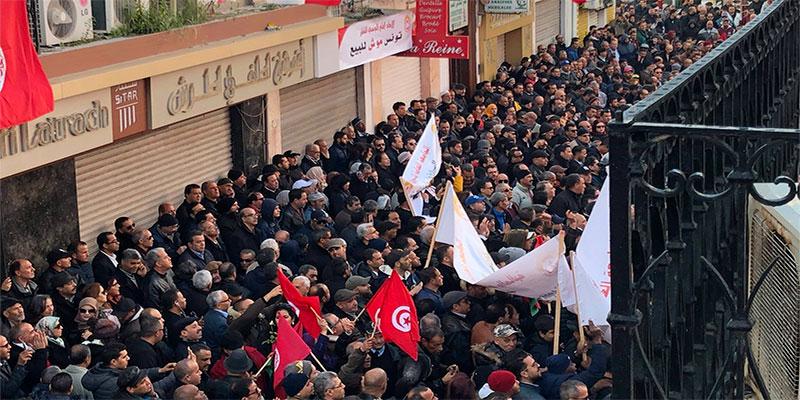 En vidéo : Rassemblement à la Place Mohamed Ali à l'occasion de la grève générale