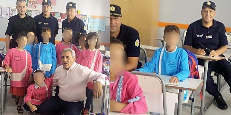 صورة اليوم: اعوان الأمن بالقصرين يرافقون إبن المرحوم شكري القاهري في أول يوم دراسة