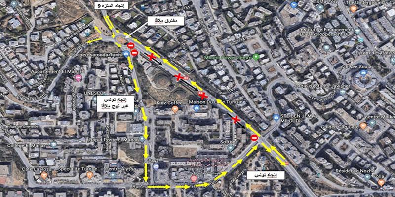 Fermeture, à partir de vendredi, de la route menant de Menzeh 9 et Manar vers Tunis