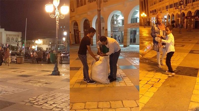 بالصور: حملة نظافة بصفاقس بعد انتهاء الاحتفالات بفوز قيس سعيد