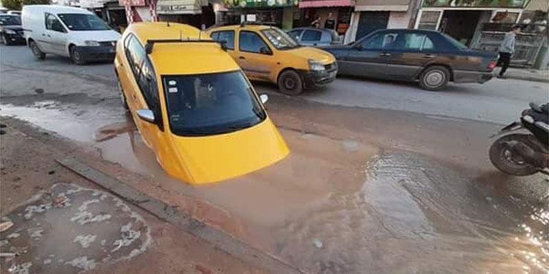 حفرة تبتلع سيارة ''تاكسي '' بسوسة، توضيح البلدية