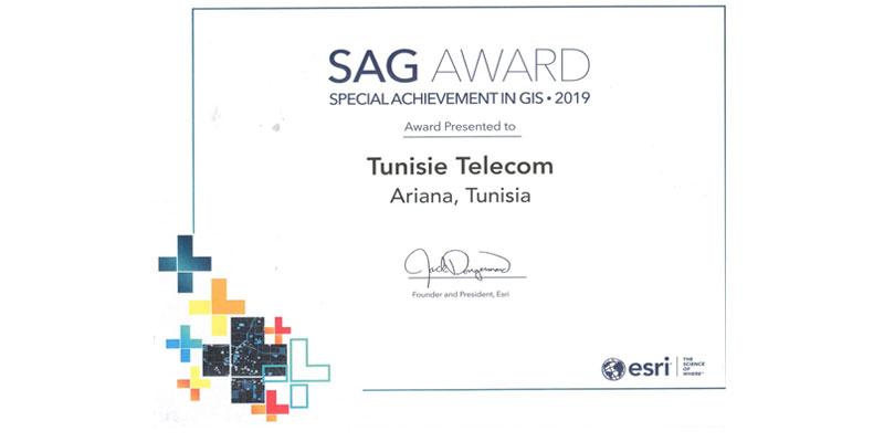 Tunisie Telecom reçoit  le prix  Special Achievement in GIS Award
