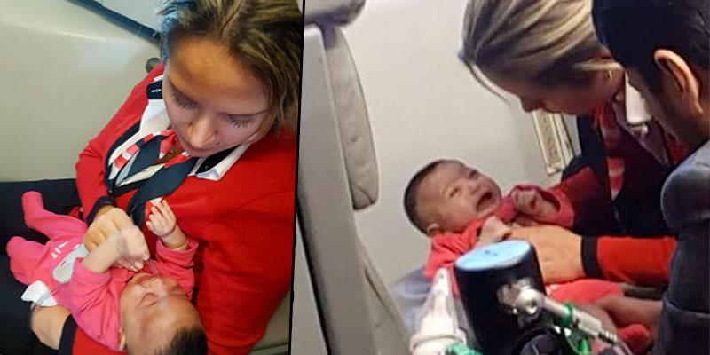 En photos : Une hôtesse de l'air de Tunisair s'occupe d'un bébé victime d'un malaise en plein vol
