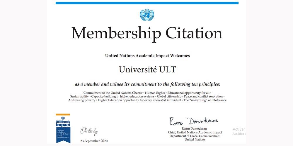 L'Université ULT rejoint la communauté internationale engagée dans l'impact universitaire des Nations Unies (UNAI).