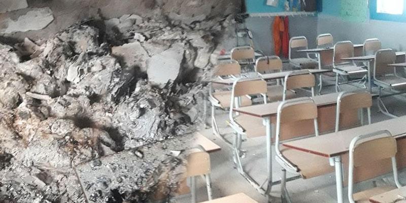 Photos : Une école incendiée par des inconnus à Borj Louzir