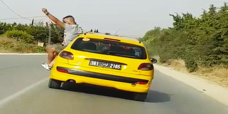 بالفيديو : يعرض نفسه والاخرين للخطر في طريق غار الملح