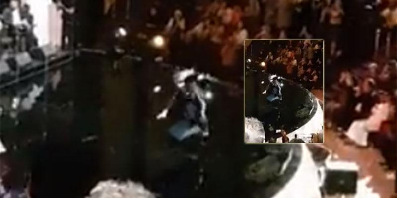 بالفيديو، أمينة فاخت تسقط على المسرح في حفل بقطر